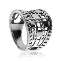 Střítrný prsten - Širší vzor s mřížkou