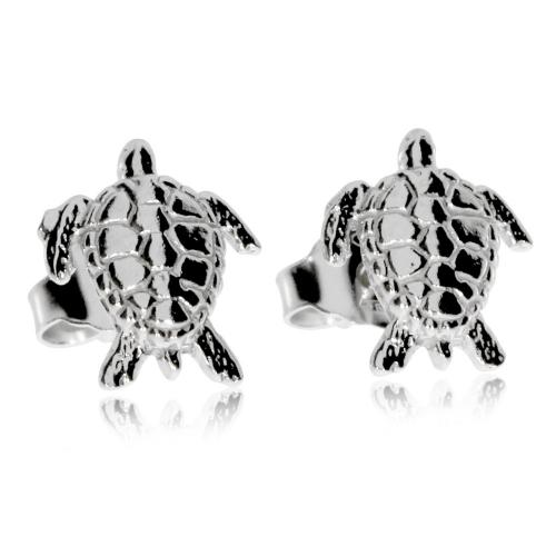 Stříbrné náušnice - Pecky ve tvaru želv