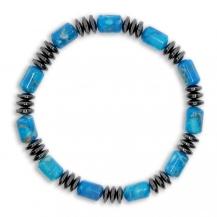 Pánský náramek na pružném návleku - Modro-šedné kameny