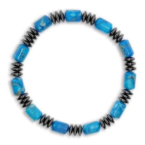 Pánský náramek na pružném návleku - Modré a šedé kameny