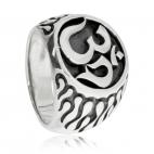 Stříbrný prsten - Symbol Óm na černém pozadí
