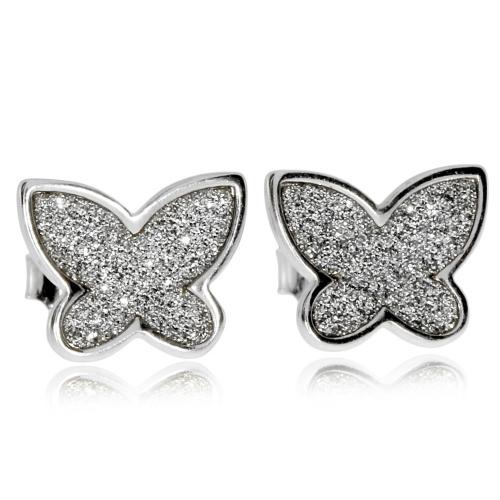 Stříbrné náušnice - Malý třpytivý motýlek