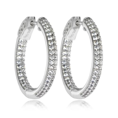 Stříbrné náušnice - Kruhy s kamínky