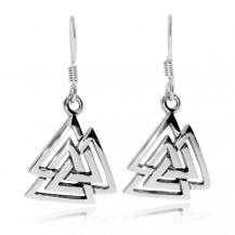 Stříbrné náušnice - Valknut, vikingský symbol