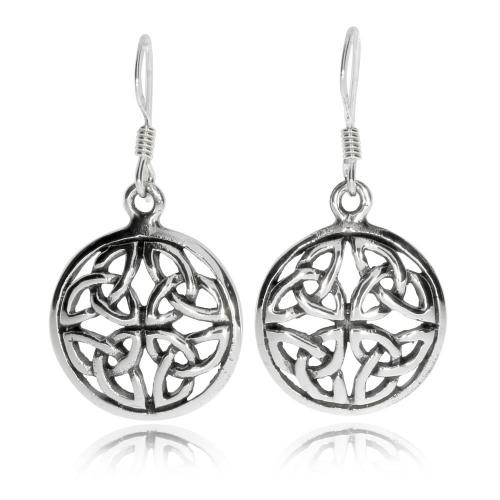 Stříbrné visací náušnice - Kulatý keltský ornament