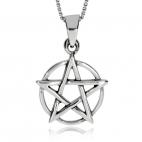 Stříbrný přívěsek - Pentagram s kruhem