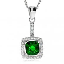 Stříbrný přívěsek - Čtverec se zeleným kamenem