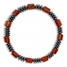 Unisex náramek z kamenných korálků, hematit a jaspis