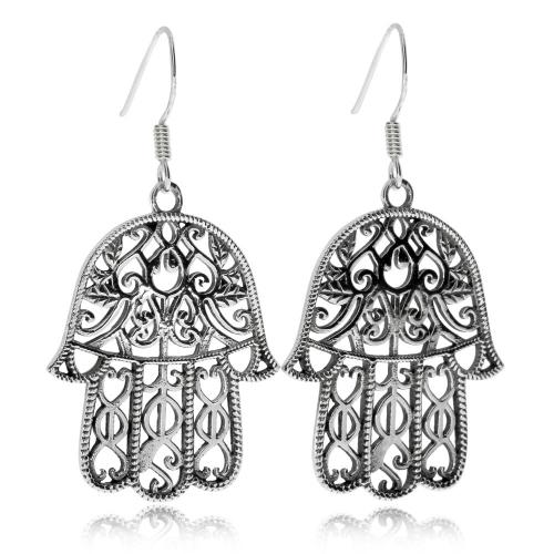 Stříbrné náušnice - Amulet ruka Fátimy (Hamsa