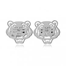 Stříbrné náušnice pecky - Hlavy tygrů