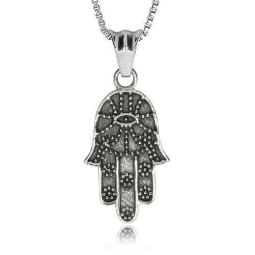 Stříbrný přívěsek - Ruka Fatimy s okem (Hamsa