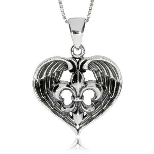 Stříbrný přívěsek - Srdce s lilií