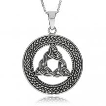Stříbrný přívěsek - Triqutra v ozdobném kruhu