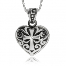 Stříbrný přívěsek - Srdce s křížem