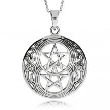 Stříbrný přívěsek - Kruh se dvěma pentagramy