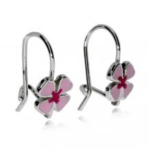 Stříbrné dětské náušnice - Růžová kytička