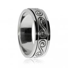 Stříbrný prsten - Spirály na otočném kroužku