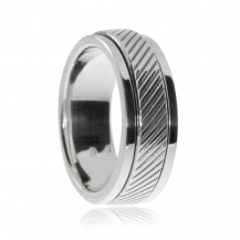 Stříbrný prsten s otáčivým kroužkem