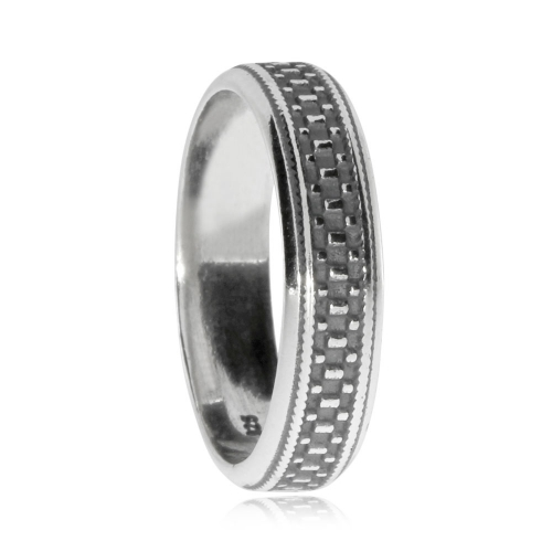 Pánský stříbrný prsten se vzorkem kostiček