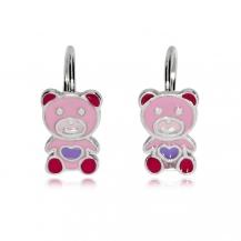 Dětské stříbrné náušnice - Růžový medvídek