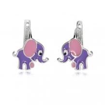 Dětské stříbrné náušnice - Sloníci s růžovýma ušima