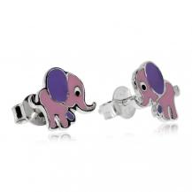Dětské stříbrné náušnice - Sloníci s fialovýma ušima