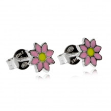 Dětské stříbrné náušnice - Růžové kytičky