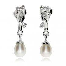 Stříbrné visací náušnice s přírodní perlou a zirkoniemi