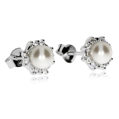 Stříbrné náušnice - Pecky s přírodní perlou a zirkony