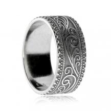 Stříbrný prsten - Kroužek s ozdobným okrajem