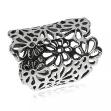 Stříbrný prsten - Kytičky