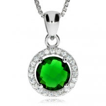 Stříbrný přívěsek - Smaragdově zelený kulatý kámen