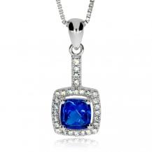 Stříbrný přívěsek - Čtvereček s modrým kamenem