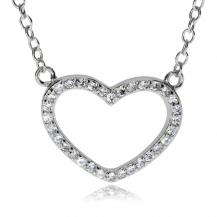 Stříbrný náhrdelník - Srdce se zirkony (CZ