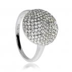 Stříbrný rhodiovaný prsten se zirkony (kubická zirconie