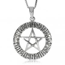 Stříbrný přívěsek - Runy na kruhovém obvodu pentagramu