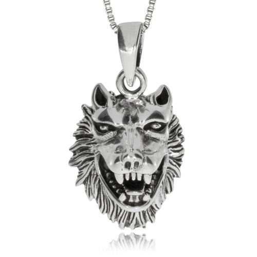 Stříbrný přívěsek - Hlava vlka