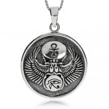 Stříbrný přívěsek - Medailon s egyptskými motivy