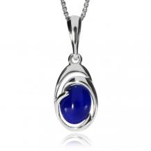 Stříbrný přívěsek - Oválek lapisu lazuli