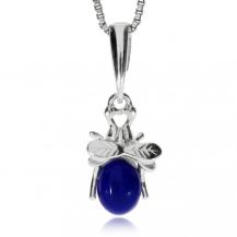 Stříbrný přívěsek - Muška s lapisem lazuli