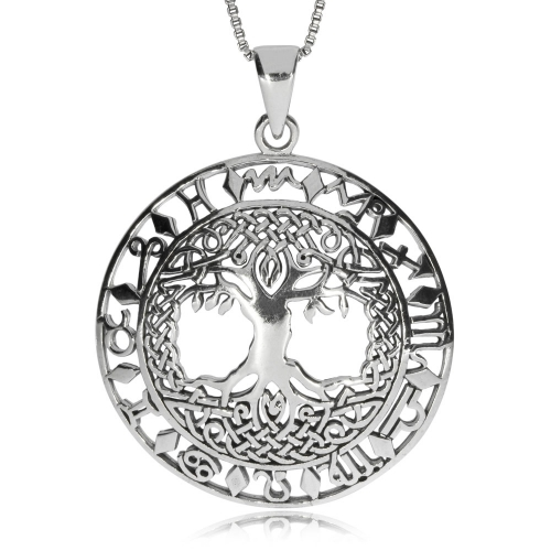 Stříbrný přívěsek - Strom života se znaky zvěrokruhu