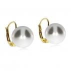 Stříbrné náušnice zlacené s kulatou umělou perlou