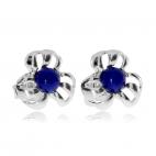 Stříbrné náušnice - Kytičky s modrým středem (lapis lazuli