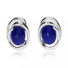 Stříbrné náušnice - Lapis lazuli ve stříbrném zámotku