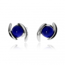 Stříbrné náušnice - Kulatý lapis lazuli s dvěma linkami