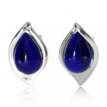 Stříbrné náušnice pecky - Modré kapky (lapis lazuli