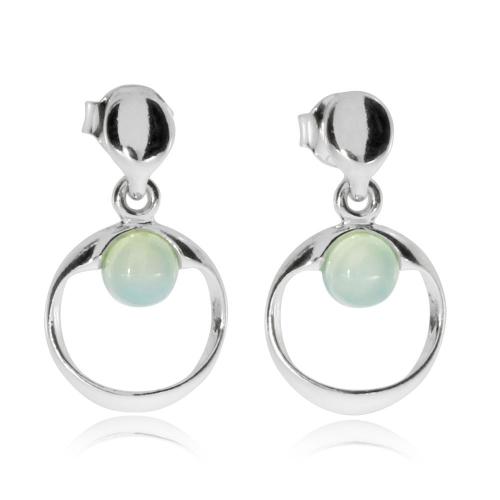 Stříbrné náušnice - Achát aqua v kroužku