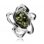 Stříbrná brož - zelený jantar v motivu květu