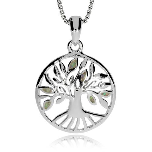Stříbrný přívěsek - Strom života se synt. opálem