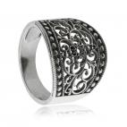 Stříbrný prsten - Široká krajka